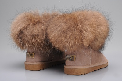 UGG Women Fox Fur Mini Sand Boots 5854_2
